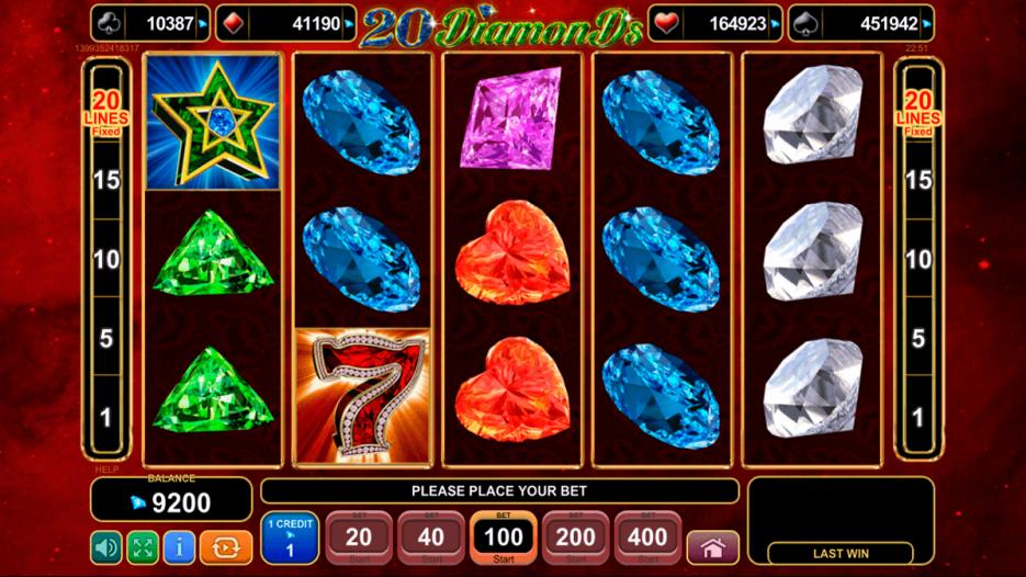 Видео слот 20 Diamonds — играть в игровые автоматы Адмирал